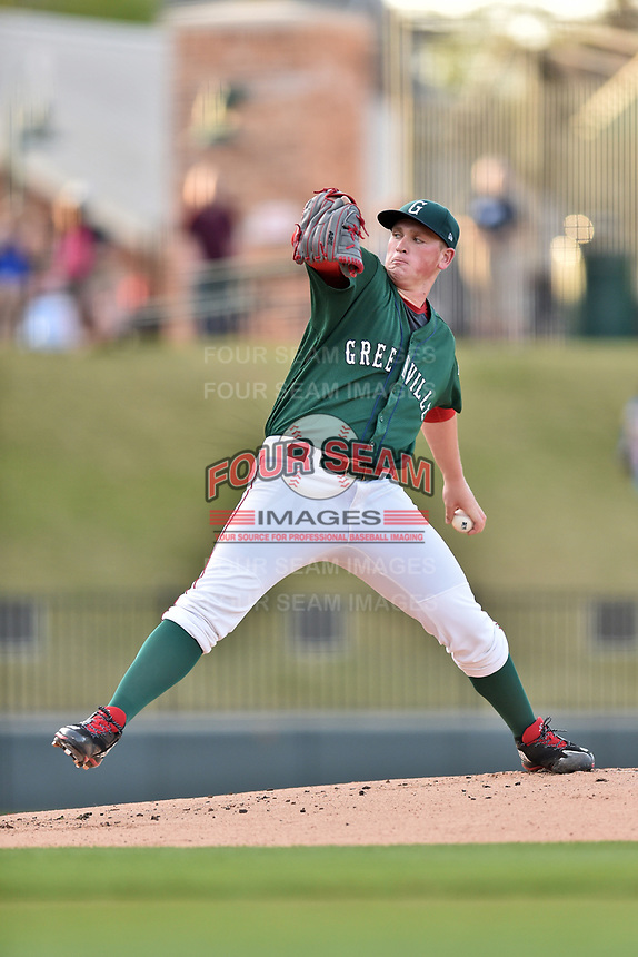 Greenville Drive starting pitcher Jay Groome (28) delivers a pitch against the Lexington Legends at Fluor Field at West End on April 10, 2017 in Greenville, South Carolina. The Legends defeated the Drive 12-4 (Tony Farlow/Four Seam Images)