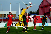 Jordan Holmes of Ebbsfleet United punches clear under pressure during Ebbsfleet United vs Notts County, Vanarama National League Football at The Kuflink Stadium on 24th August 2019