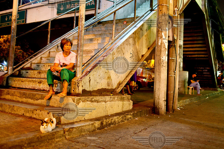 A woman and a cat both sitting on the steps of a pedestrian bridge.