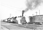 D&amp;RGW #491 and #486 double-heading a freight leaving Chama eastbound towards Cumbres.  Apparently, the San Juan is in Chama at this time as well.<br /> D&amp;RGW  Chama, NM  Taken by Griffiths, Henry R., Jr. - 6/11/1947