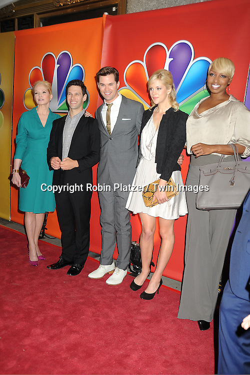"""The New Normal"" cast Ellen Barkin , Justin Bartha, Andrew Rannells, Georgia King and NeNe Leakes attend the NBC Upfront Presentation of 2012-2013 Season at Radio City Music Hall on May 14, 2012 in New York City."