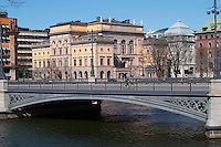 Konstakademien The Royal Academy for the fine arts. Vasabron bridge. Stockholms Ström water. Norrmalm. Stockholm. Sweden, Europe.