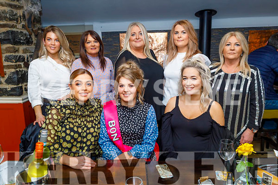 Emma Lawlor from Tralee who is going to Australia, enjoying her Bon Vogage party in the Brogue Inn on Saturday.<br /> Seated l to r: Aisling Curran, Emma Lawlor and Joanne Bowler.<br /> Back l to r: Sinead Scannell, Patricia Duggan, Beth O'Mahoney, Mairead Lynch and Kitty Lucid Carroll.