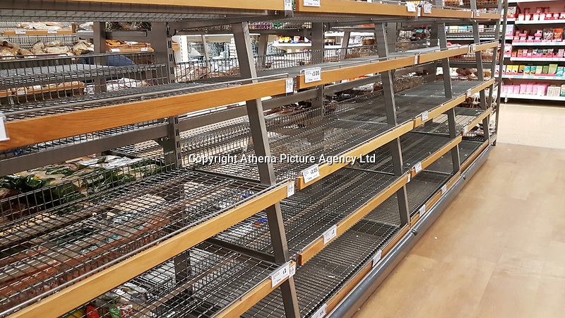 Empty shelves in the bakery section of Sainsbury's super market in Swansea south Wales, because of the Beast from the East weather. Thursday 01 March 2018