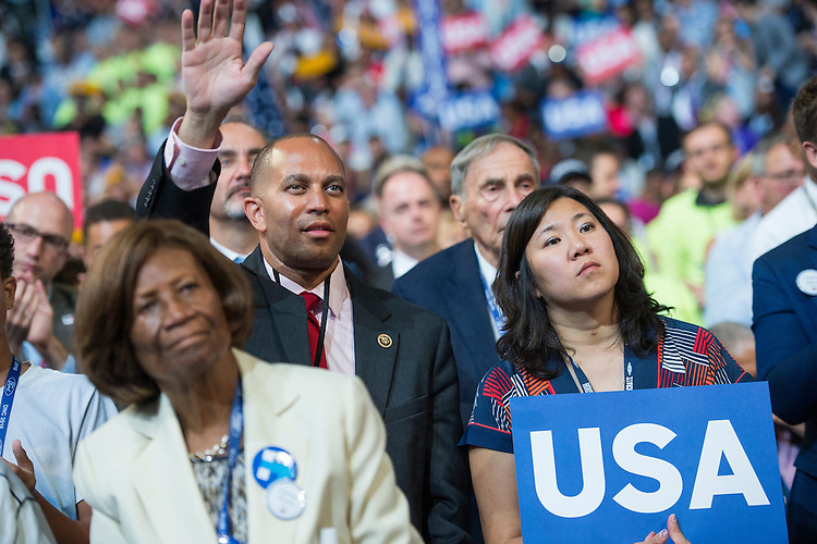 UNITED STATES - JULY 28: Reps. Grace Meng, D-N.Y., right, and Hakeem Jeffries, D-N.Y., appear on the floor of the Wells Fargo Center in Philadelphia, Pa., on the final night of the Democratic National Convention, July 28, 2016. (Photo By Tom Williams/CQ Roll Call)