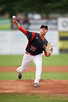 Batavia Muckdogs starting pitcher Ryan Lillie (35) delivers a warmup pitch during a game against the Williamsport Crosscutters on August 3, 2017 at Dwyer Stadium in Batavia, New York.  Williamsport defeated Batavia 2-1.  (Mike Janes/Four Seam Images)