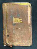 BNPS.co.uk (01202 558833)<br /> Pic: HAldridge/BNPS<br /> <br /> Official White Star Line book of sailing found on William Harrison after the Titanic went down valued at £18,000.<br /> <br /> Remarkable water-stained documents recovered from the body of the assistant to the most controversial person on the Titanic have been discovered 107 years later.<br /> <br /> The personal archive of valet William Harrison also includes a four page letter he wrote home to his wife moaning about his working conditions under Bruce Ismay.<br /> <br /> The managing director of Titanic's owners White Star Line was portrayed as a coward in James Cameron's epic movie when he snuck into a lifeboat rather than going down with the ship.<br /> <br /> Mr Harrison told her how he was 'fed up' with spending hours writing letters to post for Ismay.