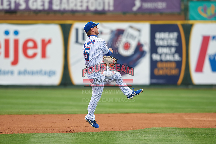 South Bend Cubs second baseman Levi Jordan (5) throws to first base during a Midwest League game against the Cedar Rapids Kernels at Four Winds Field on May 8, 2019 in South Bend, Indiana. South Bend defeated Cedar Rapids 2-1. (Zachary Lucy/Four Seam Images)