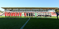 20171024 - PENAFIEL , PORTUGAL : illustration picture shows both team line ups during a women's soccer game between Portugal and the Belgian Red Flames , on tuesday 24 October 2017 at Estádio Municipal 25 de Abril in Penafiel. This is the third game for the  Red Flames during the Worldcup 2019 France qualification in group 6. PHOTO SPORTPIX.BE | DAVID CATRY