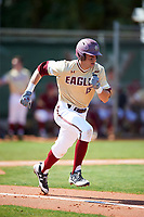 Boston College Eagles third baseman Anthony Maselli (15) runs to first base during a game against the Central Michigan Chippewas on March 3, 2017 at North Charlotte Regional Park in Port Charlotte, Florida.  Boston College defeated Central Michigan 5-4.  (Mike Janes/Four Seam Images)