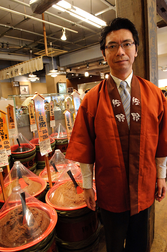 Masaaki Sano, CEO of Sano Miso shop, Tokyo, Japan, May 25, 2009. Sano Miso sells 60 kinds of gourmet miso as well as varied miso products. The company was founded in 1934 and has four shops in Tokyo.