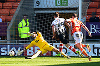 Grimsby Town's Sam Jones scores his sides third goal <br /> <br /> Photographer Richard Martin-Roberts/CameraSport<br /> <br /> The EFL Sky Bet League Two - Blackpool v Grimsby Town - Saturday 8th April 2017 - Bloomfield Road - Blackpool<br /> <br /> World Copyright &copy; 2017 CameraSport. All rights reserved. 43 Linden Ave. Countesthorpe. Leicester. England. LE8 5PG - Tel: +44 (0) 116 277 4147 - admin@camerasport.com - www.camerasport.com