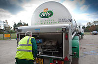 Arla milk tanker loading milk at a farm in Dumfries,Scotland.