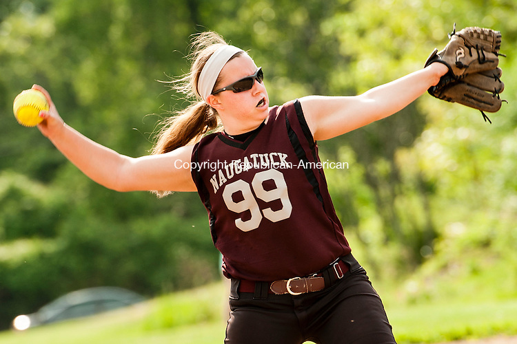 WATERBURY, CT-27 May 2014-052714EC03-  Naugatuck's Jenna Miller pitches against Holy Cross. The Greyhounds defeated the Crusaders, 6-3, in the NVL softball quarterfinals Tuesday in Waterbury. Erin Covey Republican-American
