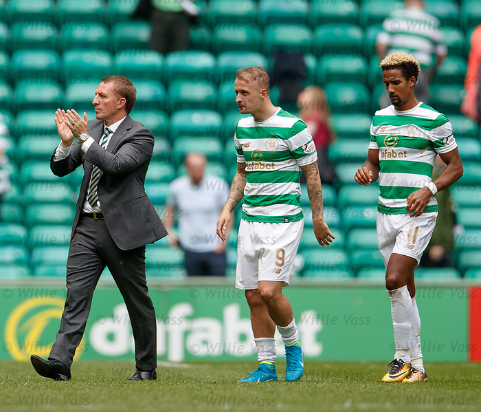 Brendan Rodgers with Leigh Griffiths and Scott Sinclair