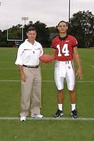 7 August 2006: Stanford Cardinal head coach Walt Harris and Tavita Pritchard during Stanford Football's Team Photo Day at Stanford Football's Practice Field in Stanford, CA.