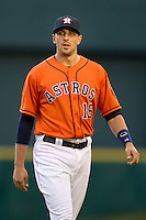 Houston Astros designated hitter Jason Castro (15) before the MLB baseball game against the Detroit Tigers on May 3, 2013 at Minute Maid Park in Houston, Texas. Detroit defeated Houston 4-3. (Andrew Woolley/Four Seam Images).