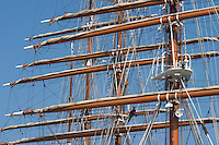 Maintenance work in the rigs of the Sea Cloud.