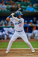 Marco Hernandez (13) of the Ogden Raptors at bat against the Grand Junction Rockies at Lindquist Field on September 9, 2019 in Ogden, Utah. The Raptors defeated the Rockies 6-5. (Stephen Smith/Four Seam Images)