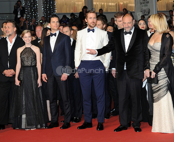 Russell Crowe, Angourie Rice, Matt Bomer, Ryan Gosling and Joel Silver at the &acute;The Nice Guys` screening during The 69th Annual Cannes Film Festival on May 15, 2016 in Cannes, France.<br /> CAP/LAF<br /> &copy;Lafitte/Capital Pictures /MediaPunch ***NORTH AND SOUTH AMERICA ONLY***