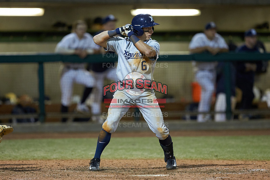 Rylan Bannon (6) of the Xavier Musketeers at bat against the Penn State Nittany Lions at Coleman Field at the USA Baseball National Training Center on February 25, 2017 in Cary, North Carolina. The Musketeers defeated the Nittany Lions 7-5 in game two of a double header. (Brian Westerholt/Four Seam Images)