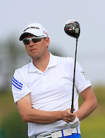 Neil Raymond (ENG) on the 1st tee during Round 1 of the Challenge de Madrid, a Challenge  Tour event in El Encin Golf Club, Madrid on Wednesday 22nd April 2015.<br /> Picture:  Thos Caffrey / www.golffile.ie