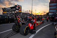 Jun 16, 2017; Bristol, TN, USA; Crew members for NHRA top fuel driver Doug Kalitta during qualifying for the Thunder Valley Nationals at Bristol Dragway. Mandatory Credit: Mark J. Rebilas-USA TODAY Sports