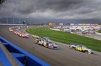 Feb 24, 2008; Fontana, CA, USA; NASCAR Sprint Cup Series driver Jimmie Johnson (48) leads Matt Kenseth (17) during the Auto Club 500 at Auto Club Speedway. Mandatory Credit: Mark J. Rebilas-US PRESSWIRE