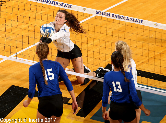 BROOKINGS, SD - SEPTEMBER 1: Sierra Peterson #1 from South Dakota State University digs the ball against CSU Bakersfield during their match Friday night at the Jackrabbit Invitational at Frost Arena in Brookings. (Photo by Dave Eggen/Inertia) (Photo by Dave Eggen/Inertia)