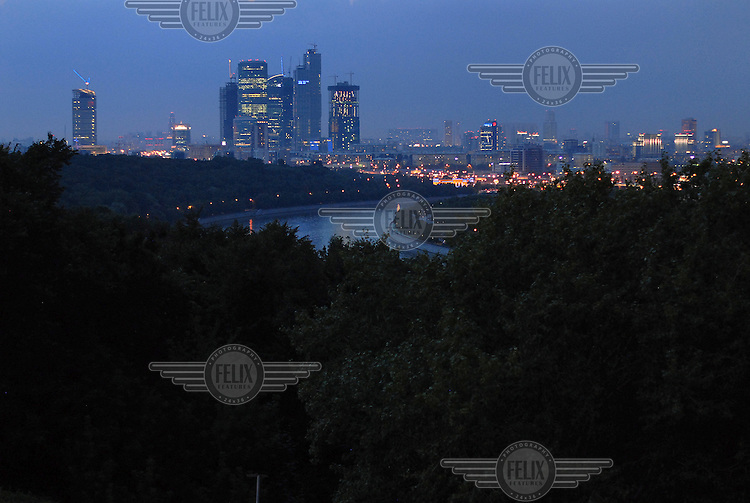 A view over Moscow at night, taken from the western hills.