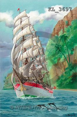Interlitho, Luis, LANDSCAPES, paintings, sailing ship, island(KL3697,#L#) Landschaften, Schiffe, paisajes, barcos, llustrations, pinturas ,puzzles