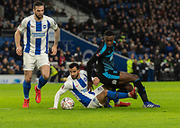 West Bromwich Albion's Rekeem Harper (right) is tackled by Brighton & Hove Albion's Martin Montoya (left)<br /> <br /> Photographer David Horton/CameraSport<br /> <br /> Emirates FA Cup Fourth Round - Brighton and Hove Albion v West Bromwich Albion - Saturday 26th January 2019 - The Amex Stadium - Brighton<br />  <br /> World Copyright © 2019 CameraSport. All rights reserved. 43 Linden Ave. Countesthorpe. Leicester. England. LE8 5PG - Tel: +44 (0) 116 277 4147 - admin@camerasport.com - www.camerasport.com