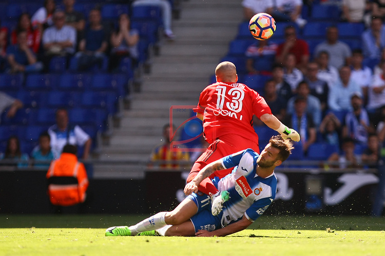 League Santander 2016/2017. Game: 37.<br /> RCD Espanyol vs Valencia CF: 0-1.<br /> Leo Baptistao vs Jaume Domenech.