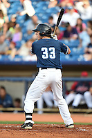 Lake County Captains third baseman Grant Fink (33) at bat during a game against the Dayton Dragons on June 7, 2014 at Classic Park in Eastlake, Ohio.  Lake County defeated Dayton 4-3.  (Mike Janes/Four Seam Images)