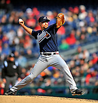 2 April 2011: Atlanta Braves pitcher Scott Linebrink on the mound against the Washington Nationals at Nationals Park in Washington, District of Columbia. The Nationals defeated the Braves 6-3 in the second game of their season opening series. Mandatory Credit: Ed Wolfstein Photo