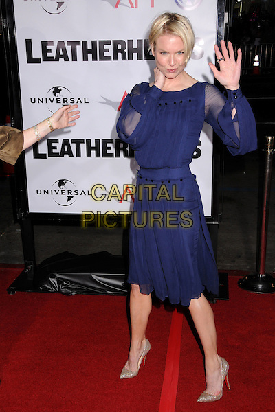 "RENEE ZELLWEGER .""Leatherheads"" Los Angeles Premiere at Grauman's Chinese Theatre, Hollywood, California, USA..March 31st, 2008.full length purple dress sheer sleeves hand palm waving gold shoes .CAP/ADM/BP.©Byron Purvis/AdMedia/Capital Pictures."