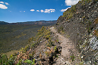 A portion of the Halemau'u trail high above the crater floor in HALEAKALA NATIONAL PARK on Maui in Hawaii