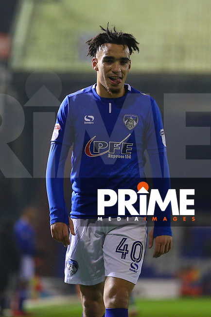 Oldham Athletic's Kean Bryan during the Sky Bet League 1 match between Oldham Athletic and Northampton Town at Boundary Park, Oldham, England on 9 December 2017. Photo by Juel Miah / PRiME Media Images.