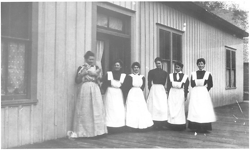&quot;Hash Slingers&quot; (Mrs. Price, Earl Price's mother, second from right) in front of Black Canyon Eating House located south of depot.<br /> D&amp;RGW  Cimarron Station, CO  Taken by Price, Earl<br /> In book &quot;Gunnison: Covering Marshall Pass, Lake City, Crested Butte thru to Ouray&quot; page 175