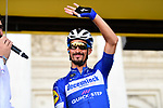 Julian Alaphilippe (FRA) Deceuninck-Quick Step at sign on before the start of Stage 1 of the 2019 Tour de France running 194.5km from Brussels to Brussels, Belgium. 6th July 2019.<br /> Picture: ASO/Alex Broadway | Cyclefile<br /> All photos usage must carry mandatory copyright credit (© Cyclefile | ASO/Alex Broadway)