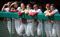 STANFORD, CA - April 2, 2011: The Stanford softball team watches Arizona warmup before Stanford's game against Arizona at Smith Family Stadium. Stanford lost 6-1.