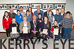 John Joe Culloty presented the 2014 Mon Hugh O'Flaherty Art and litature awards in Killarney Library on Monday front row l-r: katie Mai moloney Open Art winner, Maria Ní Mhurcha Open poetry winner, Cllr John Joe Culloty, Aoife Nic Bhloscaidh Secondary School Essay winner, Aaron broderick Primary School Essay winner. Back row. Bohesil NS Glencar pupils Special Endeavor winners nack row l-r: Maria O'Shea, Sean O'connell, Stephen Breen, Michelle doyle, Shauna Broderick, Jack McGillicuddy, Cian Knight, mary Mac Shortall, Kathleen Browne