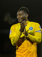 Aaron Pierre of Wycombe Wanderers applauds the support during the Sky Bet League 2 match between Dagenham and Redbridge and Wycombe Wanderers at the London Borough of Barking and Dagenham Stadium, London, England on 9 February 2016. Photo by Andy Rowland.