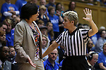 18 January 2015: Miami head coach Katie Meier (left) argues with referee Jennifer Rezac (right). The Duke University Blue Devils hosted the University of Miami Hurricanes at Cameron Indoor Stadium in Durham, North Carolina in a 2014-15 NCAA Division I Women's Basketball game. Duke won the game 68-53.