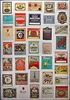 Spain, Canary Island, Lanzarote, near Mozaga: Alcoholic drinks labels | Spanien, Kanarische Inseln, Lanzarote, bei Mozaga: Etiketten alkoholischer Getraenke  in einer Bar