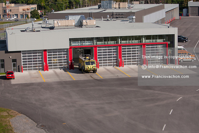 A fire truck is pictured by the Quebec city Jean Lesage International Airport fire station Thursday September 3, 2015.