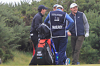Rory McIlroy (NIR) and Eddie Pepperell (ENG) on the 18th tee during Round 2 of the Alfred Dunhill Links Championship 2019 at Kingbarns Golf CLub, Fife, Scotland. 27/09/2019.<br /> Picture Thos Caffrey / Golffile.ie<br /> <br /> All photo usage must carry mandatory copyright credit (© Golffile | Thos Caffrey)