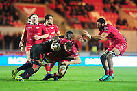 Ed Kennedy of Scarlets is tackled by Andisa Ntsila of Southern Kings during the Guinness Pro14 Round 5 match between Scarlets and Isuzu Southern Kings at the Parc Y Scarlets in Llanelli, Wales, UK. Saturday 29 September 2018