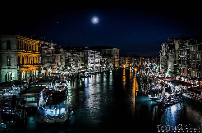 The Blue Hour on The Grand Canal from the Rialto Bridge in Venice, Italy.