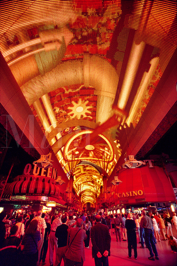 Overhead light show the Fremont Street Experience Downtown Las Vegas Nevada USA.